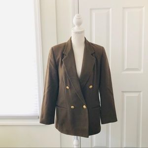 4/$25  Vintage Petite Green Double Breasted Blazer
